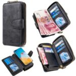 BF001 Leather Cover Anti-Gravity Zip Wallet Cell Phone Case for Huawei P40 Pro – Black