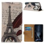 Pattern Printing PU Leather Wallet Stand Phone Shell for Huawei Y6p – Eiffel Tower and Letters