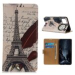 Protective Case Patterned Wallet Leather Stand Cover for Huawei Y5p/Honor 9S – Tower and Letters