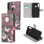 Pattern Printing PU Leather Wallet Stand Phone Casing for Huawei Y6P – Flowers and Butterflies