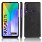 Litchi Texture PU Leather Coated Plastic Cover for Huawei Y6p – Black