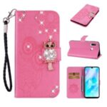 Owl Imprint Rhinestone Decor Leather Phone Cover Case for Huawei Y6p – Rose