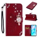 Owl Imprint Rhinestone Decor Leather Phone Cover Case for Huawei Y6p – Red