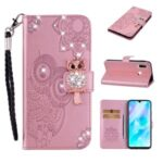 Owl Imprint Rhinestone Decor Leather Phone Cover Case for Huawei Y6p – Rose Gold