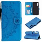 Imprinted Mandala Flower Wallet Leather Cover with Strap for Huawei Y8p – Blue