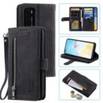 Zipper Wallet with 9 Card Slots Leather Case with Strap for Huawei P40 – Black