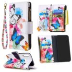 Pattern Printing Leather Stand Mobile Phone Cover with Zipper Wallet for Huawei Y7p/P40 lite E – Butterfly and Flower