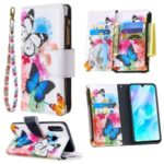 Pattern Printing Leather Stand Mobile Protective Cover with Zipper Wallet for Huawei P30 Lite/nova 4e – Butterfly and Flower