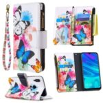 BF03 Pattern Printing Zipper Wallet Leather Cover for Huawei P Smart (2019)/Nova Lite 3 (Japan)/Honor 10 Lite – Butterfly and Flower
