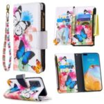 Pattern Printing Zipper Wallet Stand Leather Shell for Huawei P40 – Butterfly and Flower