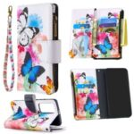 Pattern Printing Zipper Wallet Leather Phone Case for Huawei P40 Pro – Butterfly and Flower