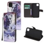 Pattern Printing Cross Texture Leather Wallet Phone Shell with Strap for Huawei Y5p – Wolf