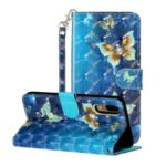 Light Spot Decor Wallet Stand Leather Pattern Printing Phone Case for Huawei P20 – Butterfly