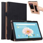 PU Leather Tablet Shell with Elastic Hand Strap for Lenovo Tab M10 TB-X605F – Black
