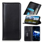 Auto-absorbed Split Leather Wallet Cover Protective Mobile Case for Motorola Moto G8 Power Lite – Black