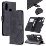 Wallet Leather Cover with Lanyard for Motorola Moto E6 Plus/Moto E6s – Black
