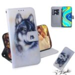 Pattern Printing Leather Wallet Case with Stand Protective Shell for Xiaomi Redmi Note 9S/9 Pro Max – Wolf