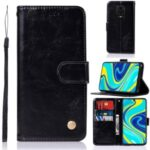 Premium Vintage Leather Wallet Stand Case for Xiaomi Redmi Note 9 Pro/Note 9S – Black