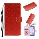 Flash Powder Wallet Leather Stand Case for Xiaomi Mi CC9 Pro – Red