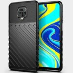 Thunder Series Twill Skin TPU Shell for Xiaomi Redmi Note 9S/Redmi Note 9 Pro/Redmi Note 9 Pro Max – Black