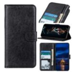 Crazy Horse Leather Shell with Wallet Stand Cover for Xiaomi Mi 10 Lite – Black