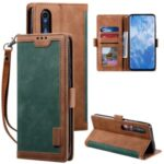 Vintage Splicing Style Wallet Stand Leather Unique Cover for Xiaomi Mi 10 – Green