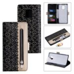 Lace Flower Skin Zipper Leather Cover for Xiaomi Redmi Note 9S/Note 9 Pro/Note 9 Pro Max – Black