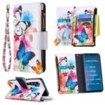 Patterned Zipper Wallet Multiple Card Slots Leather Phone Stand Case for Xiaomi Mi CC9 Pro/Mi Note 10/Mi Note 10 Pro – Butterfly