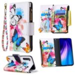 Patterned Zipper Wallet Multiple Card Slots Leather Phone Stand Case for Xiaomi Redmi Note 8 – Butterfly