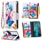 BF03 Pattern Printing Wallet Zipper Leather Phone Case for Xiaomi Redmi Note 8 Pro – Butterfly and Flower