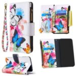 BF03 Pattern Printing Zipper Wallet Leather Protective Case for Xiaomi Redmi Note 9S/9 Pro/9 Pro Max – Blue and White Butterfly