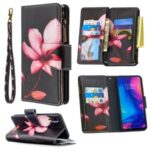 BF03 Pattern Printing Zipper Wallet Leather Phone Shell for Xiaomi Redmi Note 7 – Flower