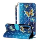 Light Spot Decor Patterned Embossed Leather Wallet Case with Strap for Xiaomi Redmi Note 8 – Butterfly