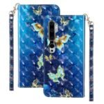 Light Spot Decor Wallet Stand Leather Pattern Printing Protection Shell for Xiaomi Mi CC9 Pro – Butterfly