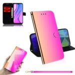 Mirror Surface Stylish Leather Wallet Cover with Strap for Xiaomi Redmi 9 – Pink