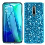 Glittering Sequins Plated TPU Frame + PC Protective Case for OnePlus 8 – Blue