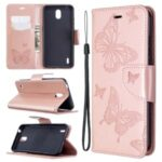 Imprint Butterfly Wallet Leather Stand Case for Nokia 1.3 – Rose Gold