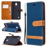 Bi-color Jeans Cloth Leather Wallet Case Shell for Nokia 1.3 – Dark Blue