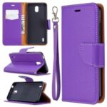 Litchi Skin with Wallet Leather Stand Case for Nokia 1.3 – Purple