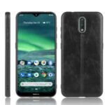 PU Leather Coated PC + TPU Phone Unique Cover for Nokia 2.3 – Black