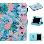 Pattern Printing Card Holder Stand Leather Tablet Case for 8-inch Tablets – Pink Flower
