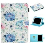 Pattern Printing Card Holder Stand Leather Tablet Case for 8-inch Tablets – Blue Flower