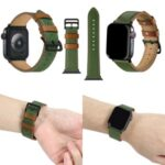 Fresh Contrast Color Genuine Leather Watch Strap for Apple Watch Series 5/4 40mm, Series 3/2/1 38mm – Green/Brown Line