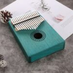 Reindeer Pattern Kalimba 17 Keys Thumb Piano Mahogany Wood Musical Instrument – Green