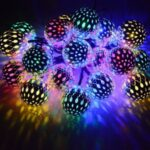 Iron Metal Ball Moroccan Ball Solar Lamp String-Silver Shell/6.5m 30 – LED/Colorful – Silver Shell//6.5m 30-LED/Colorful