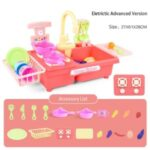 Wash-up Kitchen Toys with Running Water Electric Dishwasher Pretend Toy Role Play Cooking Toys – Upgraded Electric Mode, Pink