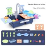 Wash-up Kitchen Toys with Running Water Electric Dishwasher Pretend Toy Role Play Cooking Toys – Upgraded Electric Mode, Blue