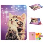 Pattern Printing Stand Leather Card Holder Case for iPad 10.2 (2019)/Air 10.5 inch (2019) – Cat