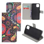 Pattern Printing Leather Wallet Case for iPhone 12 5.4 inch – Paisley Flower