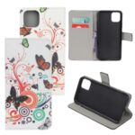 Pattern Printing Leather Wallet Case for iPhone 12 5.4 inch – Butterfly Circles